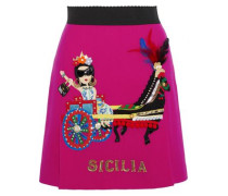Appliquéd Silk-blend Crepe Mini Skirt Fuchsia
