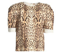 Leopard-print wool top