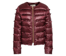 Woman Ruffled Quilted Shell Down Jacket Merlot