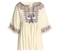 Pleated embroidered cotton blouse