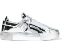 Woman Pearlogy Mirrored-leather Sneakers Silver