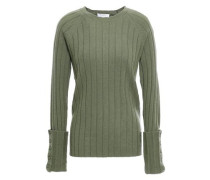 Woman Joella Ribbed Wool And Cashmere-blend Sweater Leaf Green