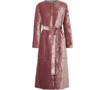 Tie-front Crushed-velvet Coat Antique Rose