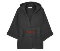 Woman Belted Ribbed Cashmere Hooded Cardigan Dark Gray