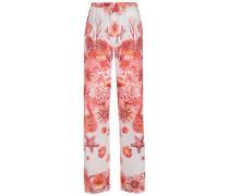 Printed silk crepe de chine wide-leg pants