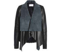 Ribbed-knit paneled leather jacket