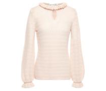 Halima Ruffle-trimmed Pointelle-knit Sweater Blush Size 12