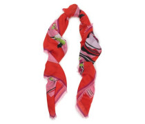 Printed Cashmere And Silk-blend Scarf Pink Size --