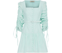 Belted Ruched Cotton And Silk-blend Mini Dress