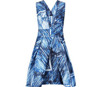 Elisa pleated printed satin-twill mini dress