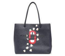 Logo-embroidered Printed Textured-leather Tote Navy Size --