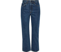 Cropped High-rise Straight-leg Jeans Mid Denim  3