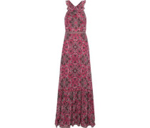 Lily Printed Silk Crepe De Chine Maxi Dress Pink