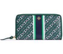 Printed Cotton-twill Wallet Emerald Size --