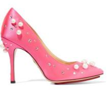 Embellished Satin Pumps Bright Pink