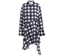 April Asymmetric Checked Satin Mini Shirt Dress Navy