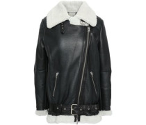Shearling-trimmed Leather Biker Jacket Black