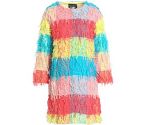 Fringed color-block woven jacket