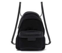 Faux leather-trimmed velvet backpack