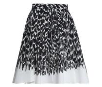 Circle printed cotton-blend poplin skirt