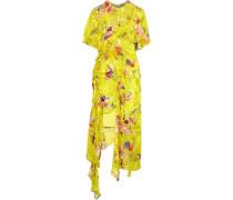 Gathered Floral-print Velvet Maxi Dress Yellow