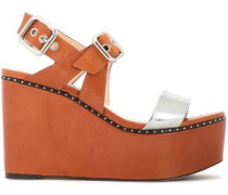Alton Studded Metallic And Smooth Leather Platform Wedge Sandals Light Brown