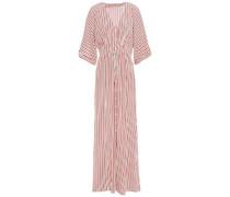 Woman Gathered Striped Silk Crepe De Chine Maxi Dress Ecru