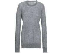 Cutout Distressed Mélange Cashmere Sweater Light Gray