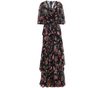 Lace-trimmed Tiered Floral-print Silk Maxi Dress Black