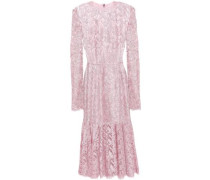 Woman Fluted Corded Lace Midi Dress Baby Pink
