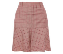 Fluted Prince Of Wales Checked Wool Mini Skirt Red