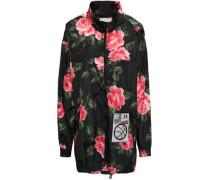 Appliquéd Floral-print Shell Hooded Jacket Black