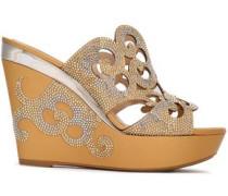 Crystal-embellished Laser-cut Leather Platform Sandals Gold