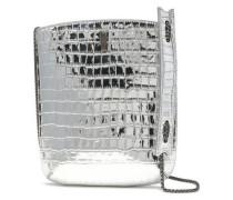 Woman Croc-effect Metallic Leather Shoulder Bag Silver