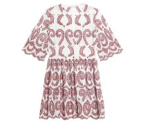 Scalloped broderie anglaise cotton mini dress