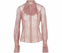 Ruffle-trimmed Chantilly lace shirt