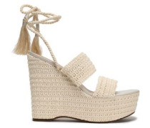 Lace-up shirred crochet platform wedge sandals