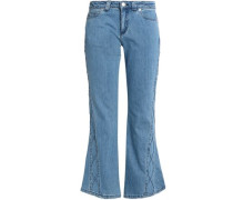Embroidered mid-rise kick-flare jeans
