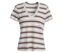 Striped Slub Cotton-blend Jersey T-shirt Ivory