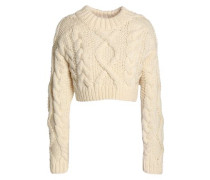 Cropped open-back cable-knit merino wool sweater