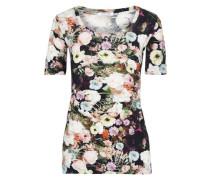Floral-print Cotton-jersey T-shirt Black