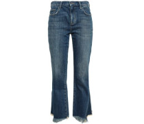 Cropped Frayed Mid-rise Bootcut Jeans Dark Denim  4