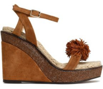 Pompom-embellished suede wedge sandals