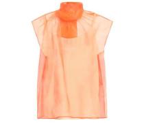 Pussy-bow Silk-organza Top Bright Orange