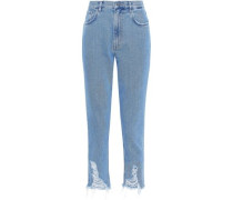Mimi cropped distressed high-rise tapered jeans