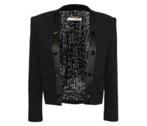 Button-embellished Satin-trimmed Wool Jacket Black