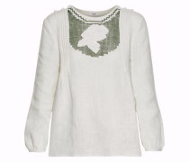 Cutout embroidered linen top