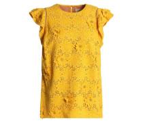 Floral-appliquéd broderie anglaise silk top