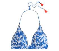 Tasseled printed triangle bikini top