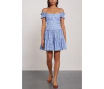 Maria Off-the-shoulder Gingham Cotton-poplin Mini Dress Light Blue